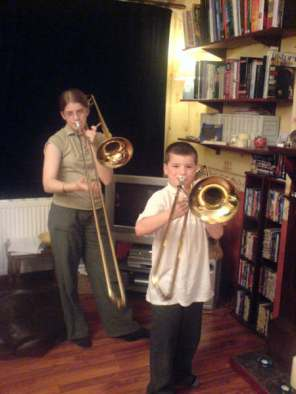 My babies on trombones - excellent sight!